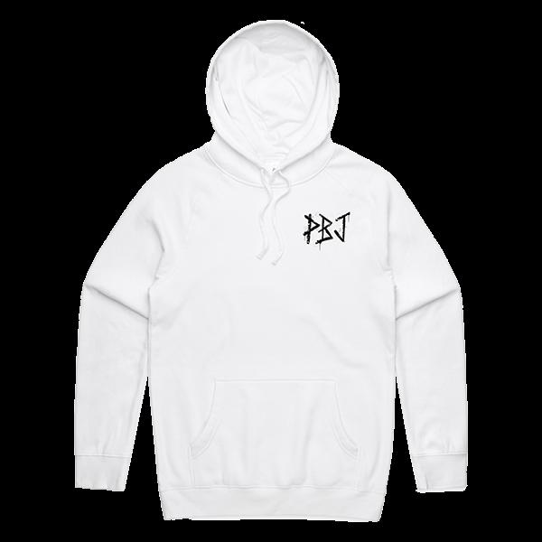 PBJ x Paint or Die Hoodie White Front